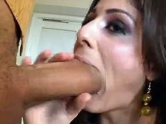 Watch this babe barely fitting Ramon's monster cock in her mouth in this hardcore video where her tight pussy's stretched out by it.