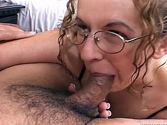 A salacious brown-haired milf gives a fervent blowjob to some guy. Then she lets him fuck her meaty smooth snatch in missionary position and enjoys a fat creampie.