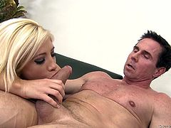 Such a cute blonde with a tight, shaved pussy deserves a big load! She wears nothing but her sexy black stockings and receives a hard fuck from sideways on the couch. Then, the blonde babe takes a short break to suck Peter's cock and receives it back in her snatch. A few more strikes and he cum fills her pink vagina