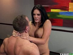 Tall and leggy brunette Mackenzee Pierce can hypnotize any man with her big luscious boobs! She climbs on top of her lover and fucks him hard in this position. The way her big tits bounce up and down guarantee your swollen dick won't go limp. Damn, that babe is unstoppable!