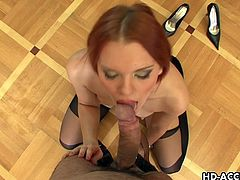 Lovely redhead girl stands on her knees and sucks a dick with pleasure in an amazing POV video. These babe swallows the every drop.