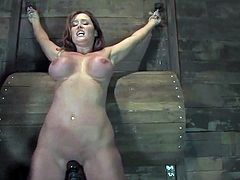 Christina Carter gets restrained in a basement. Then some dude plays with her awesome boobs and fucks her sweet pussy with a dildo.
