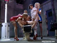Two torrid nurses in hot latex costumes please a single guy with their mouth lips and hands. After, another girl joins the action and gets nailed hard from behind.