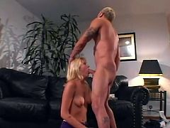 Sexy blonde slut is sucking that hard cock and gets that thing deep in her vagina, she is ready for hardcore fucking and to get facial after that.