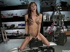 Beautiful chick Gia Dimarco strokes her cute fake tits and caresses herself. Then she sits down in an armchair and gets her coochie pounded by a fucking machine.