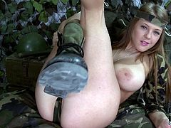 Busty seductress Viola never gets enough of her pretty pink pussy, and neither do we! In this hot masturbation video she acts really naughty. At first, she plays with her black dildo. Then she teases her lovely fanny.