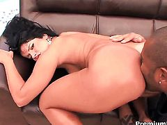 Camily tries her hardest to make hard dicked guy bust a nut in interracial action