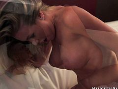 Attractive blonde tramp with impressive fake boobs can't get enough of that big cock. bitch rides it on top in reverse way and reaches multiple orgasms.