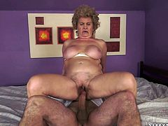 Salacious blonde granny called Effie is having fun with some dude indoors. She allows the man to eat her ugly snatch and then they bang in side-by-side and other positions.