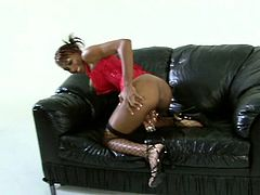 This dark-skinned temptress with big tits knows how to pose for the camera but what's most interesting is what she does with her lover's stiff dick. She sucks it greedily like mad. Then she wants him to return the favor and eat her snatch.