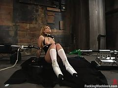 Hot girl Gia Paloma is getting naughty in a basement. She licks and sucks a big dildo and then gets her ass and cunt fucked hard by a sex machine.