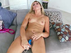 Her name is Lilly Banks and she doesn't always need a man with a huge cock to get some satisfactions. She has a hard dildo for it.