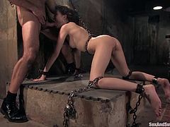 Sexy brunette Sasha Grey is playing dirty games with Steven St. Croix in a basement. She gets bound by the dude and pleases him with a blowjob.