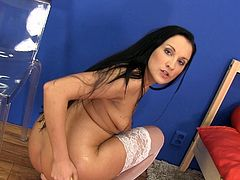 Clair releases her piss while deep stroking her wet and needy clit