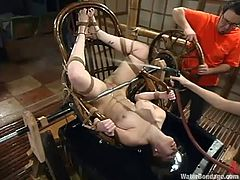 Hot blonde bitch Adrianna Nicole is having fun with a cute dominatrix indoors. She lets the mistress tie her up and drown her and then enjoys getting her shaved pussy toyed.