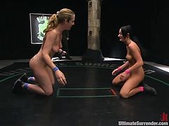 Cute chicks wrestle naked on the ground and touch themselves and each other, check it out right here! It's awesome!