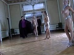 Group of delightful girls on high heels suck big dicks in rich house. Then these hotties get fucked by several guys.