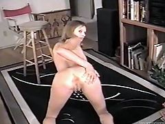 Nasty blonde girl Briana Banks strips and shows her nude body to her man. Then she pleases him with a blowjob and they fuck in missionary position and doggy style.