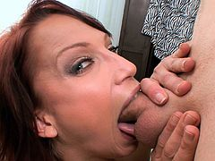 Horny beauty with big tits gives wamr oral before having her pussy smacked