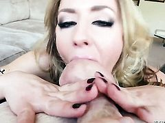Sheena Shaw cant get enough and takes Jonni Darkkos throbbing love wand in her mouth again