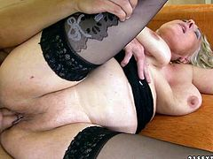 This voracious granny has a huge sexual appetite. She gets into sideways position to let her lover pummer her hard. He pounds her ruthlessly in and out loosening up her once tight hole.