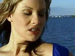 Ellen Saint and Jessica May give an amazing double blowjob to lucky man. Then these horny girls lick each others tits and get fucked rough on a deck.