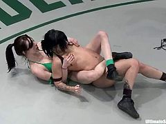 Stunning brunettes girls in bikini fight fiercely in Ultimate Surrender battle. Then the losing girl sucks a strap-on and gets toyed from behind.