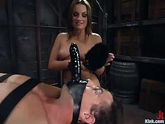 Beautiful dominatrix Flower Tucci is having fun with a dude called Stevo. She beats and humiliates him ardently and the stud moans loudly with pleasure.