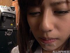 Rina Rukawa getting her wet mouth filled with hard cock and blows it until she gets cum in mouth from complete stranger in Tokyo.