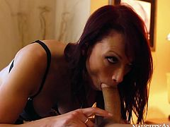 Zealous black haired porn babe Nicki Hunter is about to fill her mouth with manly meat. Check out how she temptingly sucks that long thick rod.