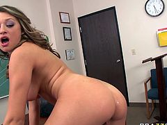 Carmen McCarthy has an incredibly hot body, well-matured boobs and nice round ass. Sex-starved college slut knows what she wants. She climbs on top of her teacher and rides him passionately like a cowgirl on a bucking bronco.