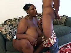 Ghetto BBW whore with huge tits and big ass Tic Tak gets it missionary and doggystyle from a ghetto thug named Papy. She gets cum in mouth at the end.