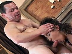 Gloria never thought that a midget can fuck her just as good as a normal guy. She got her pussy licked and fingered by the midget and loved it! The brunette liked it so much that she decided to suck his cock. Where will the midget cum? In her cute mouth or in her bushy snatch? Find out by yourself!