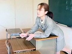Hot japanese babe enjoying one naughty fuck along younger stud at school