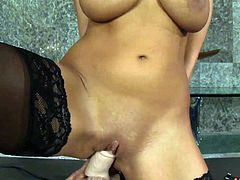 Dazzling Alison Star looks arousing while riding on her new toy cock