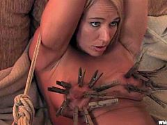 This kinky bitch gets what she wants. She loves to be tortured and dominated. So, two girls fix clothespins to her tits and stuffs her tight pussy with a strap-on in a rough manner.