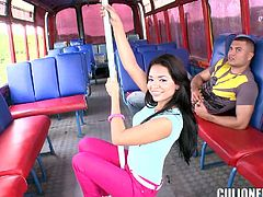 Admirable brunette Dayana is getting naughty with some dude in a bus. She pleases him with a hot blowjob and then they have ardent sex in the reverse cowgirl and other positions.
