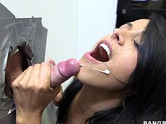 Layla Sin will lift her skirt and get the cock she was sucking inside her pussy. She's really enjoying the gloryhole fun!