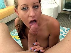 Alluring model with perfect tits Lizzy London gives top POV blowjob