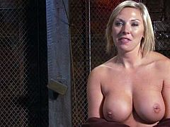 Amazing blonde chick with big boobs gets tied up. Then the guy pours hot wax on her tits and toys this hottie in both holes.