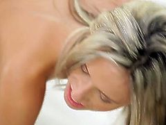 Intoxicating blonde babe gives a head and rides hard stem passionately