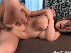 Busty brunette Asian broad has some big melons and big nipples that are making her every fucker go crazy while banging her hairy cunt