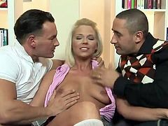 Lustful Simony Diamond is doing everything to satisfy these two men. She sucks and rides their cocks ardently and also takes them in her throbbing ass.