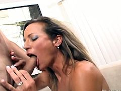 Naughty gal tries to get a portion of her favorite cum dessert