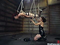The extreme bondage in this video has lots of rope plays and also toying action for the girl in high heel shoes.