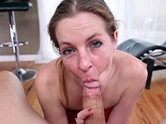 Needy milf enjoys tasty dick during hot POV blowjob porn session