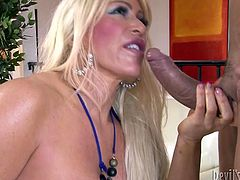 Buxom blonde trollop rides on cock like a true cowgirl