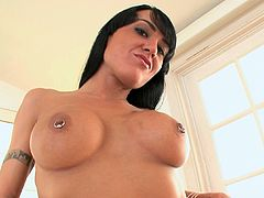 She loves to shake her big tits while gagging and sucking large dick in POV