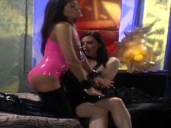 Sexy lesbians dominating one another