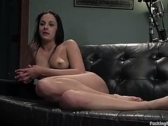 This gorgeous and smoking hot babe gets naked and amazed from the functions of that fucking machine. It has two cocks on it and babe gets both in her holes.